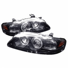 2000-2003 Nissan Sentra 1PC Projector HeadLights (PAIR) - Led Halo - Black - High H1 (Included) - Low H1 (Included) (Spyder Auto)