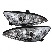 2002-2006 Toyota Camry Projector HeadLights (PAIR) - DRL - Chrome - High H1 (Included) - Low H1 (Included) (Spyder Auto)