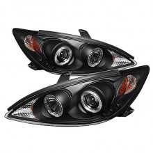 2002-2006 Toyota Camry Projector HeadLights (PAIR) - LED Halo - LED ( Replaceable LEDs ) - Black - High H1 (Included) - Low H1 (Included) (Spyder Auto)