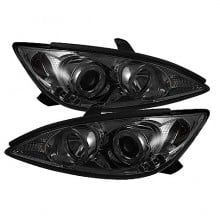 2002-2006 Toyota Camry Projector HeadLights (PAIR) - LED Halo - LED ( Replaceable LEDs ) - Smoke - High H1 (Included) - Low H1 (Included) (Spyder Auto)