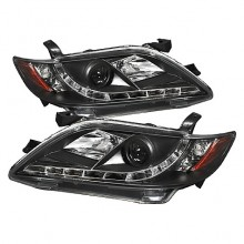 2007-2009 Toyota Camry Projector HeadLights (PAIR) - DRL - Black - High H1 (Included) - Low H7 (Included) (Spyder Auto)