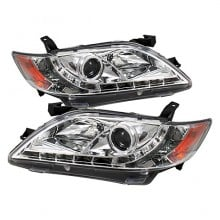 2007-2009 Toyota Camry Projector HeadLights (PAIR) - DRL - Chrome - High H1 (Included) - Low H7 (Included) (Spyder Auto)