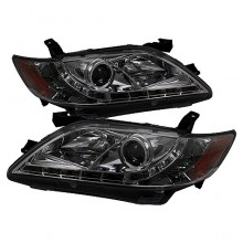 2007-2009 Toyota Camry Projector HeadLights (PAIR) - DRL - Smoke - High H1 (Included) - Low H7 (Included) (Spyder Auto)