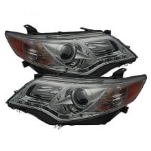 2012-2013 Toyota Camry Projector HeadLights (PAIR) - DRL - Smoke - High 9005 (Not Included - Low 9006 (Included) (Spyder Auto)