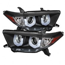 2011-2013 Toyota Highlander Projector HeadLights (PAIR) - 3D DRL - Black - High H1 (Included) - Low H7 (Included) (Spyder Auto)