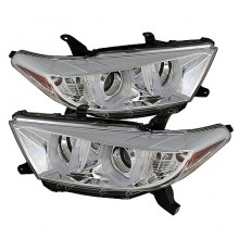 2011-2013 Toyota Highlander Projector HeadLights (PAIR) - 3D DRL - Chrome - High H1 (Included) - Low H7 (Included) (Spyder Auto)