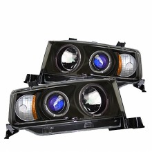 2003-2007 Scion XB Projector HeadLights (PAIR) - LED Halo - Black - High H1 (Included) - Low 9006 (Not Included) (Spyder Auto)