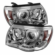 2005-2011 Toyota Tacoma Projector HeadLights (PAIR) - CCFL Halo - LED ( Replaceable LEDs ) - Chrome - High H1 (Included) - Low H1 (Included) (Spyder Auto)