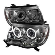 2005-2011 Toyota Tacoma Projector HeadLights (PAIR) - CCFL Halo - LED ( Replaceable LEDs ) - Smoke - High H1 (Included) - Low H1 (Included) (Spyder Auto)