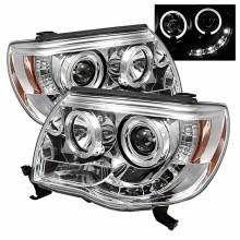 2005-2011 Toyota Tacoma Projector HeadLights (PAIR) - LED Halo - LED ( Replaceable LEDs ) - Chrome - High H1 (Included) - Low H1 (Included) (Spyder Auto)