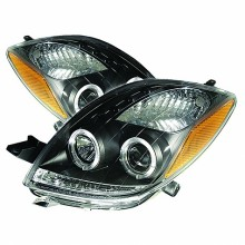 2006-2008 Toyota Yaris 2DR Projector HeadLights (PAIR) - LED Halo- LED ( Replaceable LEDs ) - Black - High H1 (Included) - Low H1 (Included) (Spyder Auto)