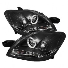 2007-2011 Toyota Yaris 4Dr Projector HeadLights (PAIR) - LED Halo - DRL - Black - High H1 (Included) - Low H1 (Included) (Spyder Auto)
