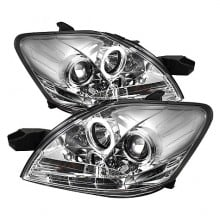 2007-2011 Toyota Yaris 4Dr Projector HeadLights (PAIR) - LED Halo - DRL - Chrome - High H1 (Included) - Low H1 (Included) (Spyder Auto)