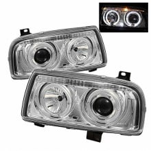 1993-1998 Volkswagen Jetta III Projector HeadLights (PAIR) - LED Halo - Chrome - High H1 (Included) - Low H1 (Included) (Spyder Auto)
