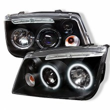 1999-2005 Volkswagen Jetta Projector HeadLights (PAIR) - CCFL Halo - Black - High H1 (Included) - Low H1 (Included) (Spyder Auto)