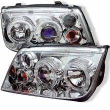 1999-2005 Volkswagen Jetta Projector HeadLights (PAIR) - LED Halo - Chrome - High H1 (Included) - Low H1 (Included) (Spyder Auto)
