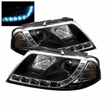 2001-2005 Volkswagen Passat Projector HeadLights (PAIR) - DRL - Black - High H1 (Included) - Low H1 (Included) (Spyder Auto)