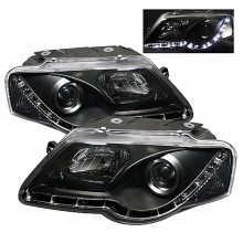 2006-2008 Volkswagen Passat Projector HeadLights (PAIR) - DRL - Black - High H1 (Included) - Low H1 (Included) (Spyder Auto)