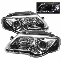 2006-2008 Volkswagen Passat Projector HeadLights (PAIR) - DRL - Chrome - High H1 (Included) - Low H1 (Included) (Spyder Auto)