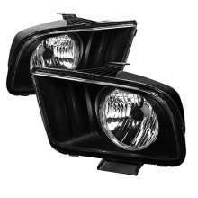 2005-2008 Ford Mustang LED Crystal HeadLights (PAIR) - Black (Spyder Auto)