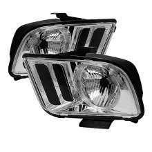 2005-2008 Ford Mustang LED Crystal HeadLights (PAIR) - Chrome (Spyder Auto)