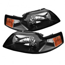 1999-2004 Ford Mustang OEM Amber HeadLights (PAIR) - Black (Spyder Auto)