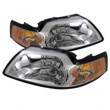 1999-2004 Ford Mustang Amber Crystal HeadLights (PAIR) - Chrome (Spyder Auto)