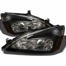 2003-2007 Honda Accord Amber Crystal HeadLights (PAIR) - Black (Spyder Auto)