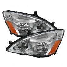 2003-2007 Honda Accord Amber Crystal HeadLights (PAIR) - Chrome (Spyder Auto)