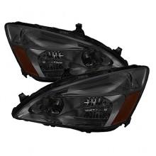 2003-2007 Honda Accord Amber Crystal HeadLights (PAIR) - Smoke (Spyder Auto)