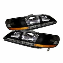 1998-2002 Honda Accord Amber Crystal HeadLights (PAIR) - Black (Spyder Auto)