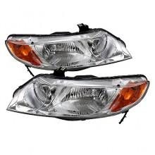 2006-2011 Honda Civic 4dr Crystal HeadLights (PAIR) Amber- Chrome (Spyder Auto)