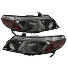 2006-2011 Honda Civic 4dr Crystal HeadLights (PAIR) Amber- Smoke (Spyder Auto)