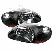 1996-1998 Honda Civic Amber Crystal HeadLights (PAIR) - Black (Spyder Auto)