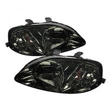 1999-2000 Honda Civic Amber Crystal HeadLights (PAIR) - Smoke (Spyder Auto)