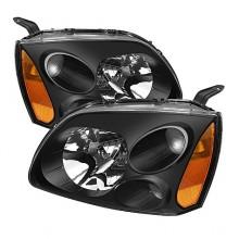 2004-2008 Mitsubishi Galant Amber Crystal HeadLights (PAIR) - Black (Spyder Auto)