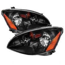 2002-2004 Nissan Altima Amber Crystal HeadLights (PAIR) - Black (Spyder Auto)