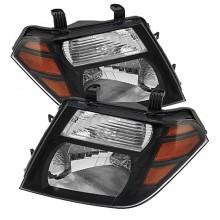 2008-2011 Nissan Pathfinder Amber Crystal HeadLights (PAIR) - Black (Spyder Auto)