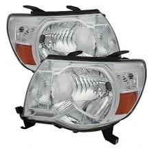 2005-2010 Toyota Tacoma Amber Crystal HeadLights (PAIR) - Chrome (Spyder Auto)