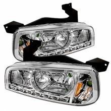 2006-2010 Dodge Charger 1PC LED Crystal HeadLights (PAIR) - Chrome (Spyder Auto)