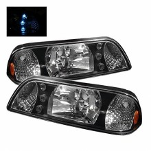 1987-1993 Ford Mustang LED Crystal HeadLights (PAIR) - Black (Spyder Auto)