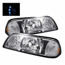 1987-1993 Ford Mustang LED Crystal HeadLights (PAIR) - Chrome (Spyder Auto)