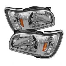 2001-2004 Toyota Tacoma 1 Piece with Chrome Trim Corner Crystal HeadLights (PAIR) - Chrome (Spyder Auto)