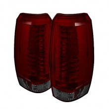 2007-2012 Chevy Avalanche LED Tail Lights (PAIR) - Red Smoke (Spyder Auto)