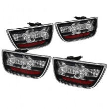 2010-2012 Chevy Camaro LED Tail Lights (PAIR) - Black (Spyder Auto)
