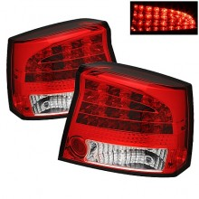 2006-2008 Dodge Charger LED Tail Lights (PAIR) - Red Clear (Spyder Auto)
