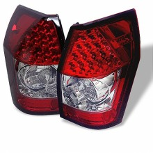 2005-2008 Dodge Magnum LED Tail Lights (PAIR) - Red Clear (Spyder Auto)