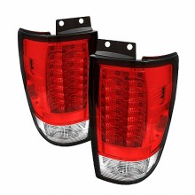 1997-2002 Ford Expedition Version 2 LED Tail Lights (PAIR) - Red Clear (Spyder Auto)