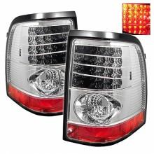 2002-2005 Ford Explorer 4Dr (Except Sport Trac) LED Tail Lights (PAIR) - Chrome (Spyder Auto)