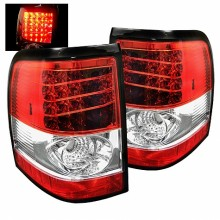 2002-2005 Ford Explorer 4Dr (Except Sport Trac) LED Tail Lights (PAIR) - Red Clear (Spyder Auto)